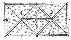 Plan view of an eight-man tent