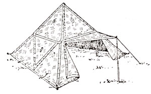 House tent made of 16 triangular shelter quarters